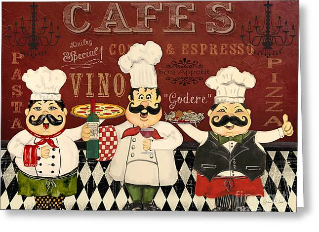 Red Wine Prints Greeting Cards - Italian Chefs-JP3048 Greeting Card by Jean Plout
