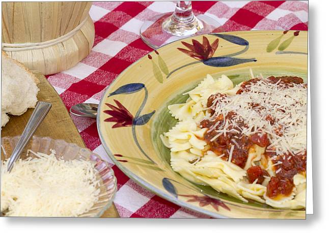 Chianti Greeting Cards - Italian Pasta Dinner Served with Wine and Bread Greeting Card by Malisa Nicolau