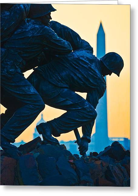 Iwo Jima Memorial At Dusk Greeting Card by Panoramic Images