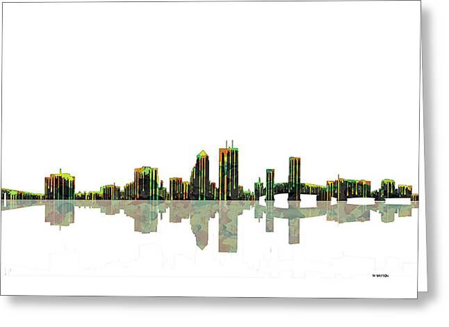 Jacksonville Digital Greeting Cards - Jacksonville Florida  Skyline Greeting Card by Marlene Watson