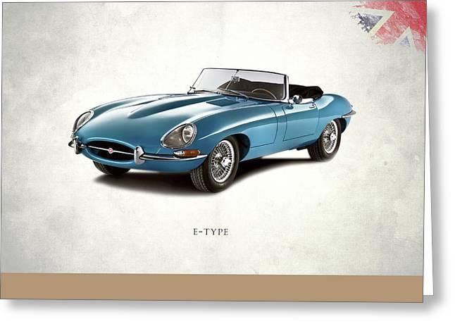 Classic Car Greeting Cards - Jaguar E Type Greeting Card by Mark Rogan