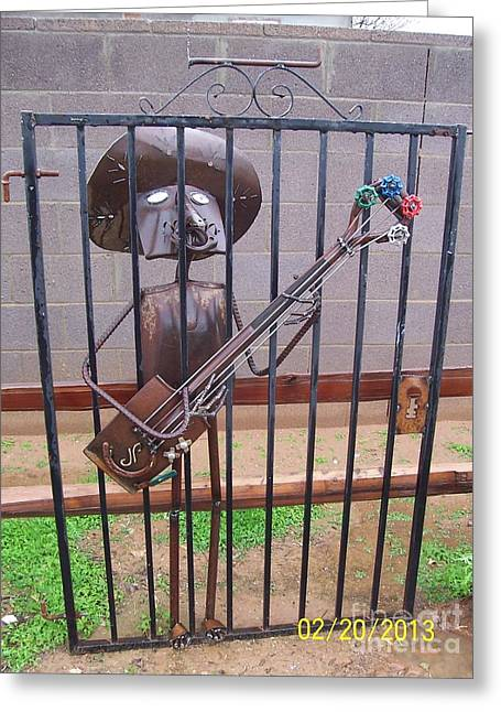 Southwest Sculptures Greeting Cards - Jail Gate Blues Greeting Card by JP Giarde
