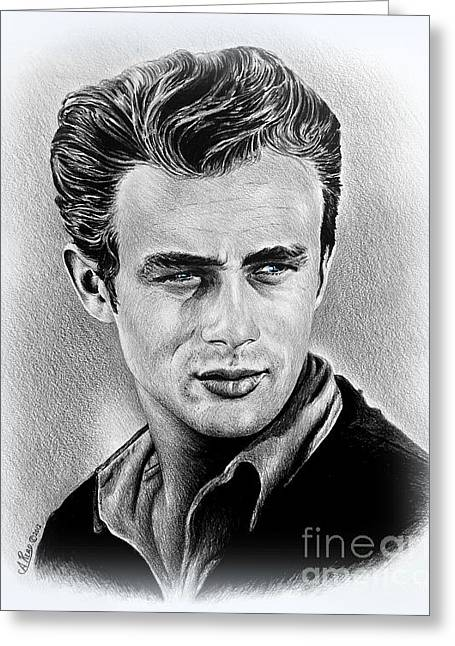 1950s Portraits Greeting Cards - James Dean  Greeting Card by Andrew Read