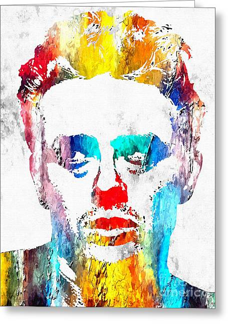 Man Without A Star Greeting Cards - James Dean Grunge Greeting Card by Daniel Janda