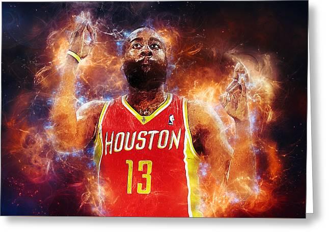Houston Rockets Digital Greeting Cards - James Harden Greeting Card by Taylan Soyturk