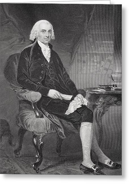 Fame Drawings Greeting Cards - James Madison 1751-1836. Fourth Greeting Card by Ken Welsh