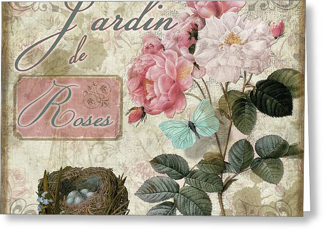 Vintage Rose Greeting Cards - Jardin de Roses Greeting Card by Mindy Sommers