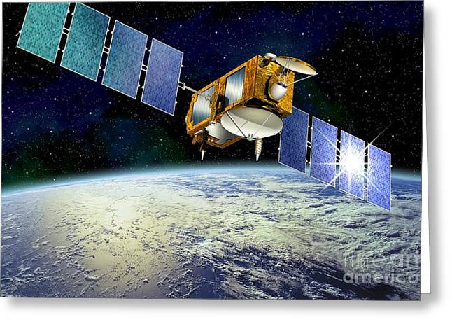Rising Sea Level Greeting Cards - Jason-1 Satellite, Artwork Greeting Card by David Ducros
