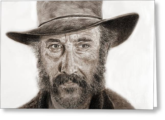 Sideburns Drawings Greeting Cards - Jason Robards as Cheyenne in Once Upon a Time in the West Greeting Card by Jim Fitzpatrick