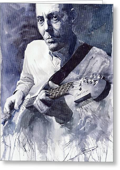Realism Greeting Cards - Jazz Guitarist Rene Trossman  Greeting Card by Yuriy  Shevchuk