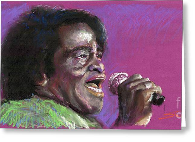 Musicians Paintings Greeting Cards - Jazz. James Brown. Greeting Card by Yuriy  Shevchuk