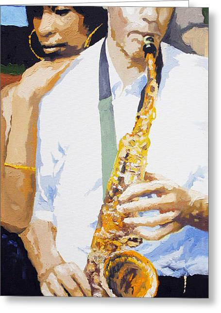 Jazz Greeting Cards - Jazz Muza Saxophon Greeting Card by Yuriy  Shevchuk
