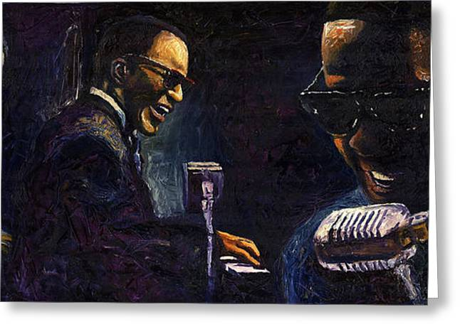Celebrities Greeting Cards - Jazz Ray Charles Greeting Card by Yuriy  Shevchuk