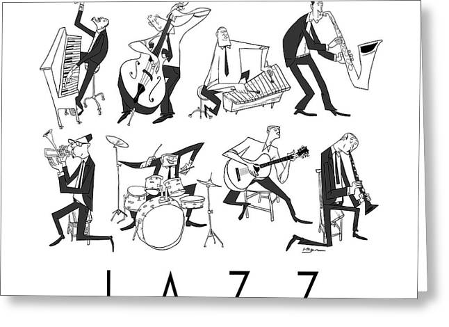 Piano Digital Art Greeting Cards - Jazz Greeting Card by Sean Hagan