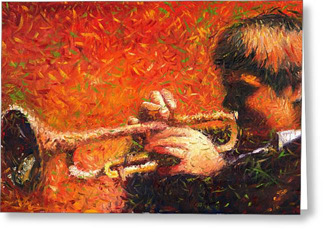 Trumpeters Greeting Cards - Jazz Trumpeter Greeting Card by Yuriy  Shevchuk