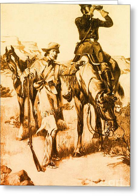 Trappers Greeting Cards - J.c. Fremont And His Guide, Kit Carson Greeting Card by Photo Researchers