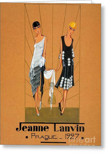 Apparel Greeting Cards - Jeanne Lanvin Design, 1927 Greeting Card by Science Source