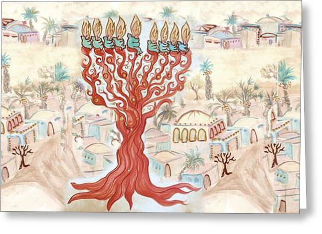 Jerusalem -watercolor On Parchment Greeting Card by Sandrine Kespi