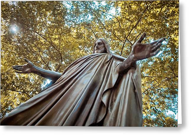 Historic Statue Greeting Cards - Jesus in Bronze Greeting Card by Linda Unger