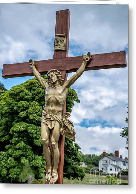 The Wooden Cross Greeting Cards - Jesus of Nazareth Greeting Card by Adrian Evans