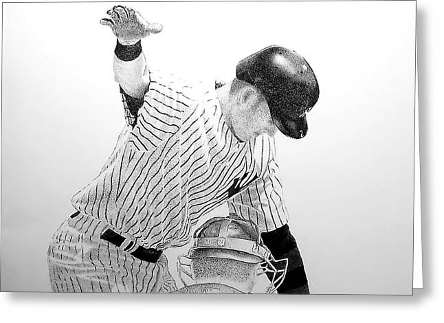 Jeter Drawings Greeting Cards - Jeter Greeting Card by Tony Ruggiero