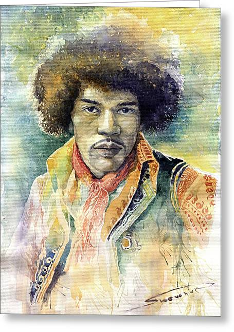 Jimi Hendrix Greeting Cards - Jimi Hendrix 01 Greeting Card by Yuriy Shevchuk