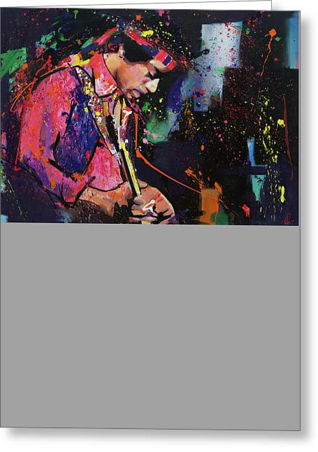 Coloured Greeting Cards - Jimi Hendrix Greeting Card by Richard Day