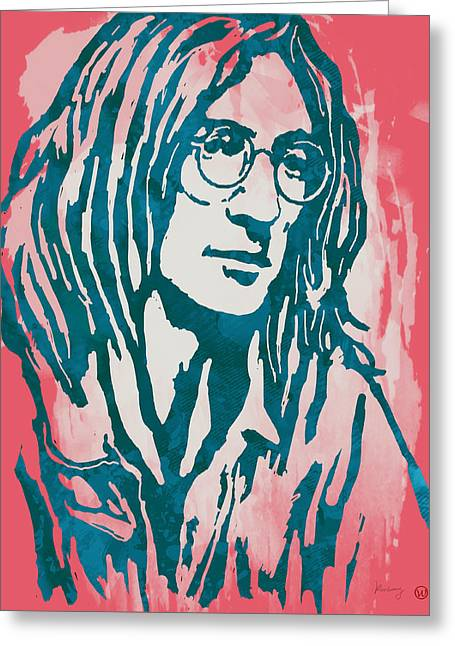 December Mixed Media Greeting Cards - John Lennon Pop Stylised Art Sketch Poster Greeting Card by Kim Wang