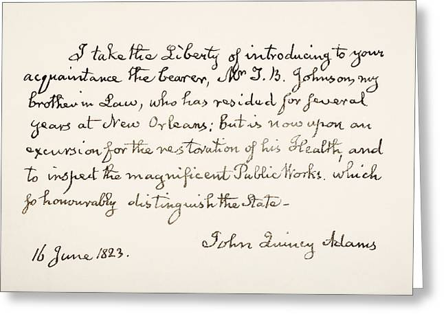 Adam Drawings Greeting Cards - John Quincy Adams, 1767 - 1848. Eldest Greeting Card by Ken Welsh