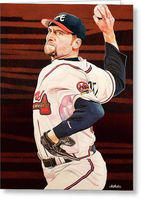 John Smoltz - Atlanta Braves Greeting Card by Michael Pattison