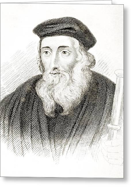 Reformer Drawings Greeting Cards - John Wycliffe Also Spelled Wycliff Greeting Card by Ken Welsh