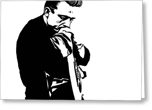 Black Man Mixed Media Greeting Cards - Johnny Cash Black And White Greeting Card by Dan Sproul