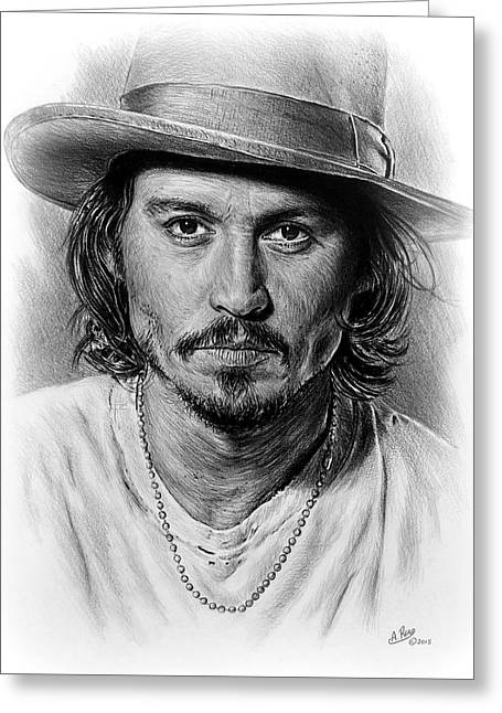 White Beard Greeting Cards - Johnny Depp Greeting Card by Andrew Read