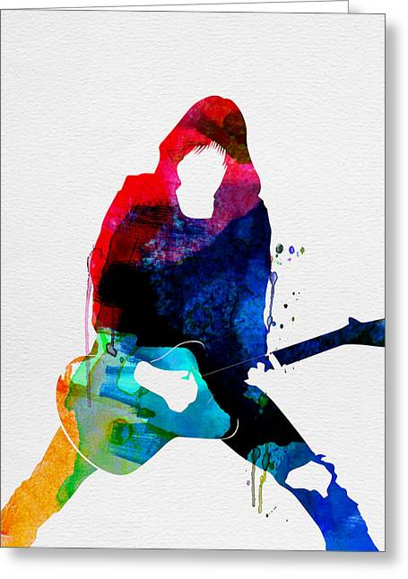 Rock Star Prints Greeting Cards - Johnny Watercolor Greeting Card by Naxart Studio