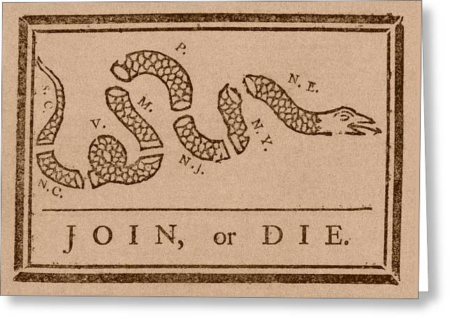 American Flag Art Greeting Cards - Join or Die Greeting Card by War Is Hell Store