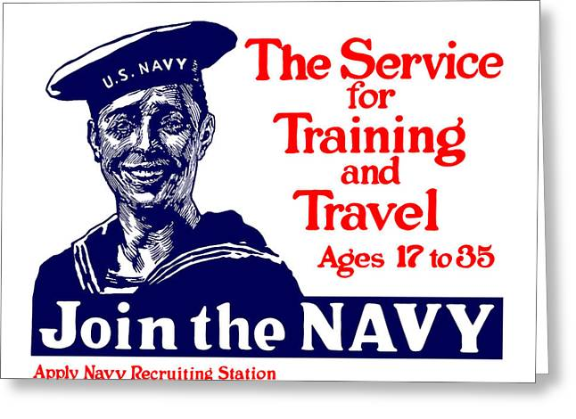 Wpa Greeting Cards - Join The Navy Greeting Card by War Is Hell Store