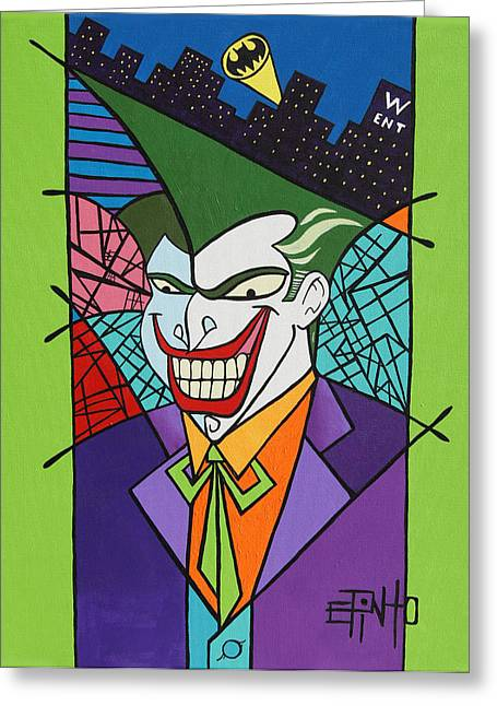 Gotham City Paintings Greeting Cards - Joker Greeting Card by Erik Pinto