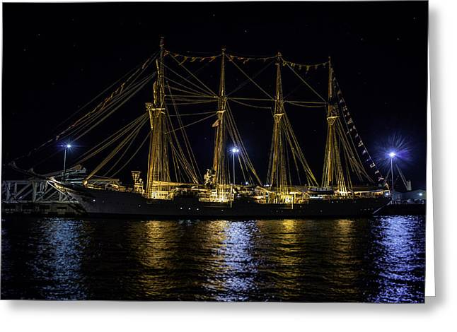 Historic Schooner Greeting Cards - Juan Sebastian Elcano Greeting Card by Lucinda  M Wickham