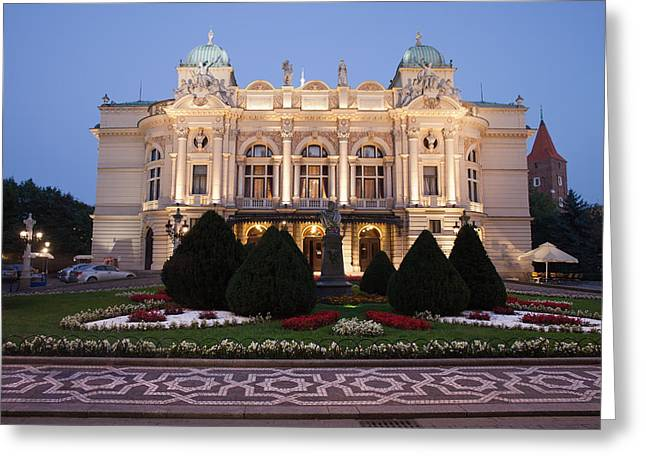 Polish Culture Greeting Cards - Juliusz Slowacki Theatre by Night in Krakow Greeting Card by Artur Bogacki