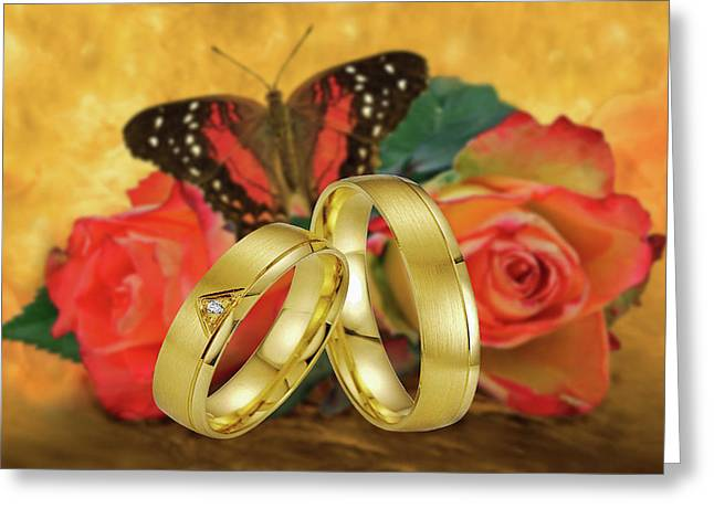 Wedding-just Married Greeting Card by Manfred Lutzius