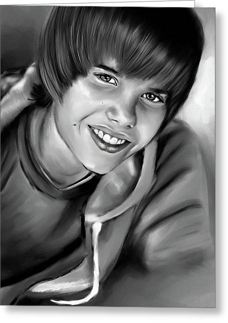 Justin Bieber Paintings Greeting Cards - Justin Greeting Card by Lisa Pence