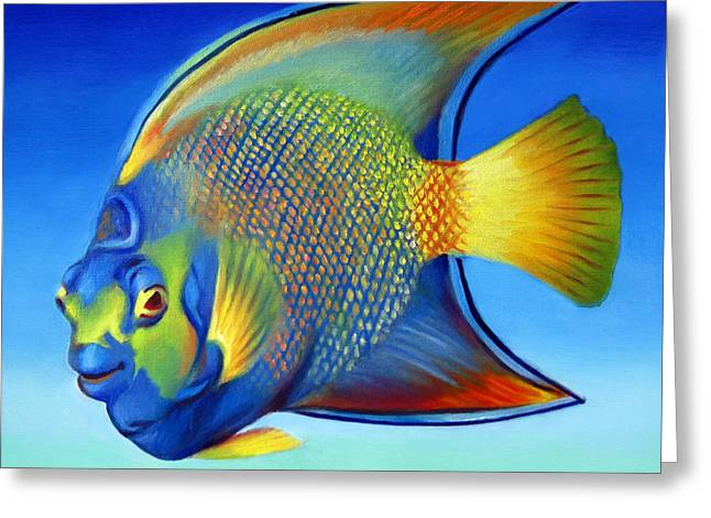 Peter Max Greeting Cards - Juvenile Queen Angelfish Greeting Card by Nancy Tilles
