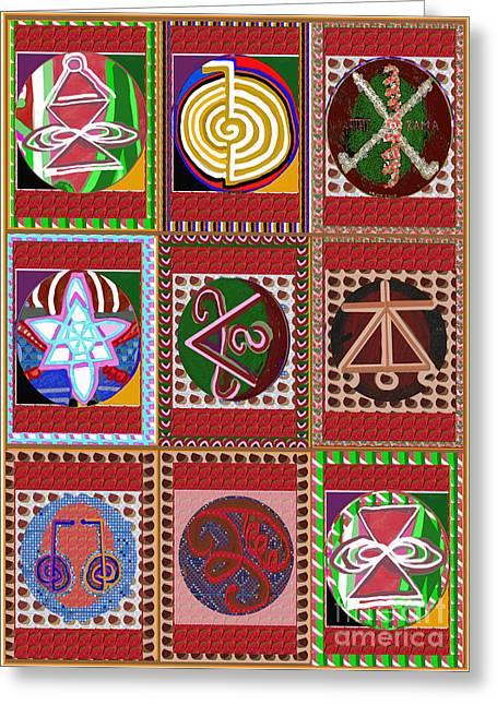 Karuna Reiki Symbol Art Buy Posters Greetings Pillows Duvet Covers Phone Cases Tote Bags Download Jp Greeting Card by Navin Joshi