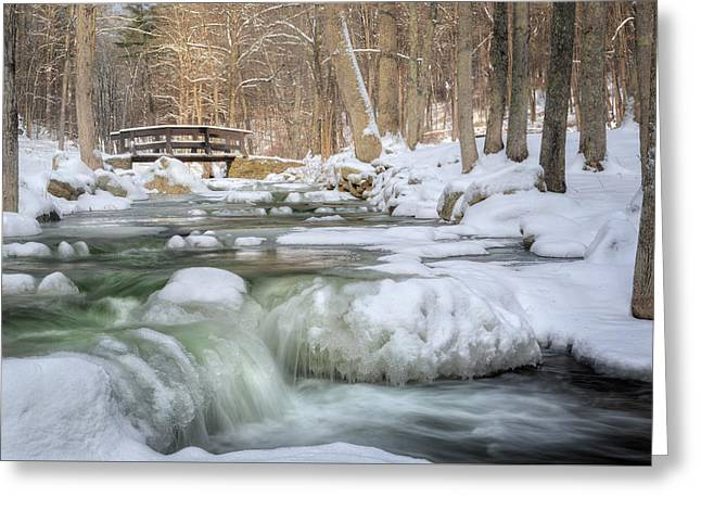 Snow-covered Landscape Photographs Greeting Cards - Kent Connecticut Winter Stream Greeting Card by Bill Wakeley