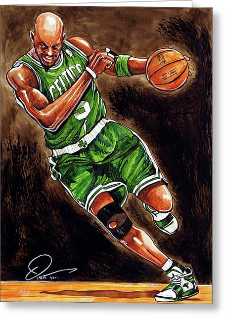 Boston Celtics Drawings Greeting Cards - Kevin Garnett Greeting Card by Dave Olsen