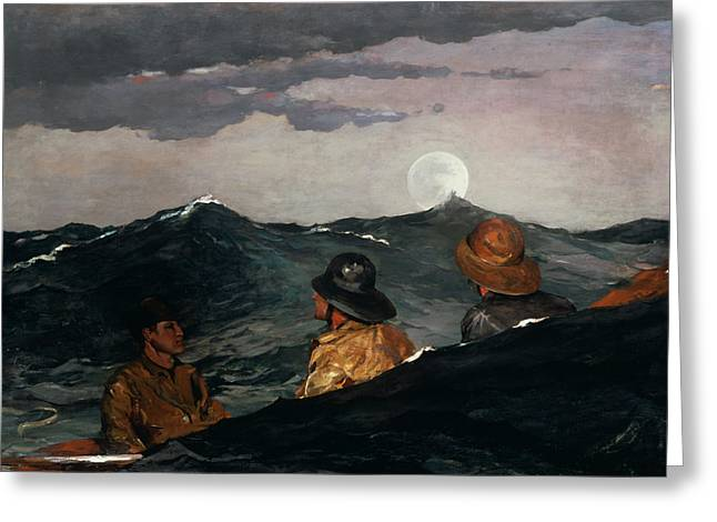 Seagoing Greeting Cards - Kissing the Moon Greeting Card by Winslow Homer