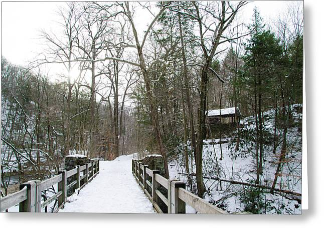 Kitchens Lane Bridge Over The Wissahickon Creek Greeting Card by Bill Cannon