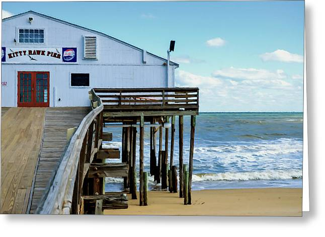 Surf Silhouette Paintings Greeting Cards - Kitty Hawk Pier 2 Greeting Card by Lanjee Chee