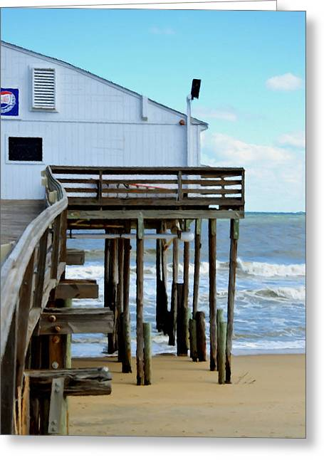 Surf Silhouette Paintings Greeting Cards - Kitty Hawk Pier 3 Greeting Card by Lanjee Chee