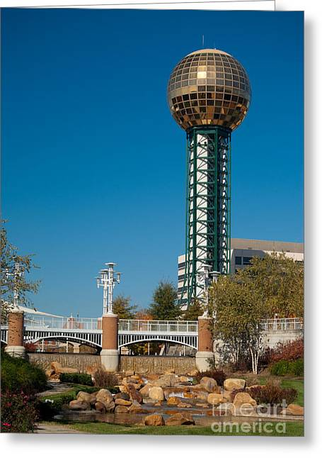 Office Space Greeting Cards - Knoxville Tennessee skyline with the Sunsphere and the Worlds Fair park Greeting Card by Anthony Totah